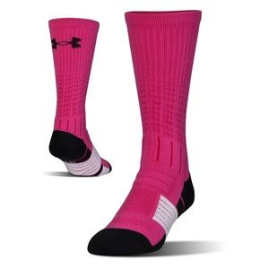 UA MENS UNRIVALED SOCKS BREAST CANCER PINK M NWT
